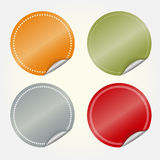 Round stickers. Colored blank round stickers - vector illustration, you can change the shape and color as you wish Stock Image