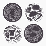 Round stickers set with doodle food patterns. Hand drawn emblem template. Vector illustration Stock Photos