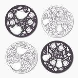 Round stickers set with doodle tea and coffee Royalty Free Stock Photos