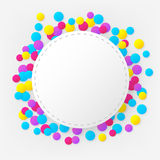 Round stitched colorful celebration background with confetti Royalty Free Stock Image