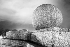 Round stone ball. Black and white photo taken in Moscow Stock Image