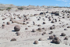 Round stones balls in Ischigualasto, Valle de la Luna Stock Images