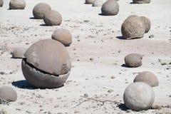 Round stones balls in Ischigualasto, Valle de la Luna royalty free stock images