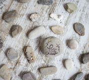Round stones with concepts. Round stones with life philosophy concepts stock photos