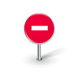 Round stop sign isolated on white Stock Photo