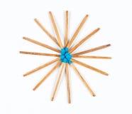 Round stos Błękitni Matchsticks zdjęcia stock