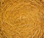 Round Straw Bale. Close-up Background Stock Photos