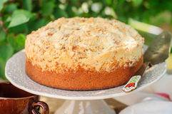 Round Streusel Fruit Cake on a Cake Stand Royalty Free Stock Images