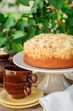 Round Streusel Fruit Cake on a Cake Stand Stock Photos
