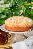 Round Streusel Fruit Cake on a Cake Stand Stock Image
