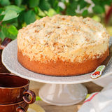 Round Streusel Fruit Cake on a Cake Stand Royalty Free Stock Photos