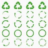 Round strzała ustawiać Zielony okrąg przetwarza ikon kolekcje wektor royalty ilustracja
