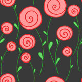 Round stylized red flowers on a dark background Royalty Free Stock Photos