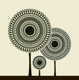 Stylized trees. Round stylized trees with funky pattern Stock Photography