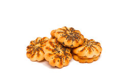 Round sugar cookies with poppy seeds on a white background. Royalty Free Stock Image