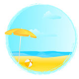 Round summer banner with umbrella and ball Stock Photo