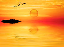 A round sun in the lake Stock Photography
