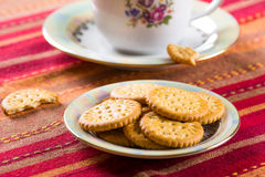 Round sweet biscuits with poppy seeds eating Royalty Free Stock Images