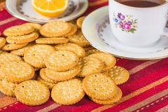 Round sweet biscuits with poppy seeds eating Royalty Free Stock Image
