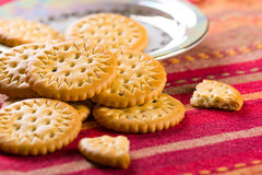 Round sweet biscuits with poppy seeds Stock Images