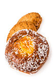 Round sweet bun with shredded coconut and two Royalty Free Stock Photo