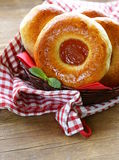 Round sweet buns with apple jam Royalty Free Stock Photos