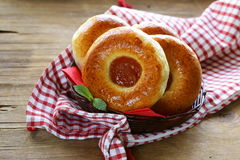 Round sweet buns with apple jam Royalty Free Stock Image