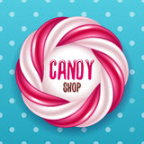 Round swirl candy cane and polka dot background. Hard candy frame. Royalty Free Stock Image