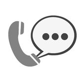 Round symbol call phone with chat bubble icon. Illustration design Royalty Free Stock Photo