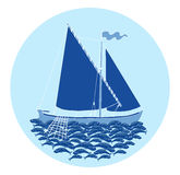 Round symbol with fishing boat and fish catch Royalty Free Stock Photography