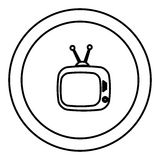 Round symbol old television with antenna icon. Illustration design Royalty Free Stock Image