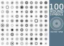 Round symbols set. 100 vector spirographs.  Royalty Free Stock Photos