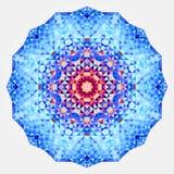 Round symmetrical digital ornament. Abstract Blue Red Mandala.  royalty free illustration