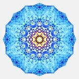 Round symmetrical digital ornament. Abstract Blue Yellow Mandala.  stock illustration