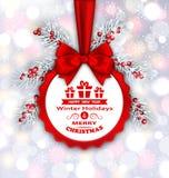 Round sztandar z Czerwonym faborkiem i łęk dla Szczęśliwego nowego roku 2017 royalty ilustracja