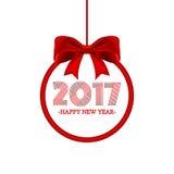 Round sztandar z literowania 2016 Szczęśliwym nowym rokiem i czerwonym łękiem również zwrócić corel ilustracji wektora Zdjęcie Stock
