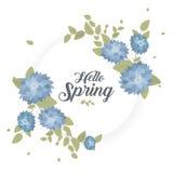 Round sztandar z wiosna logem Cześć Karta dla wiosna sezonu z bielu ziele i ramą Promocyjna oferta z wiosną royalty ilustracja