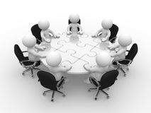 Round table. 3d people - human character, person at a round table with puzzle pieces ( jigsaw) . 3d render Royalty Free Stock Photo