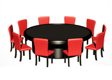 Round table. Round conference table with red chairs around it Stock Images