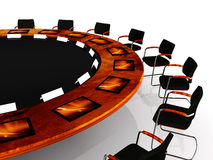 Round Table. Detail of a round table with communication tools Stock Photo