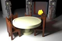 Round table with armors and fireside Stock Image