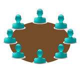 Round table with buddy icons. Vector round table with buddy icons stock illustration