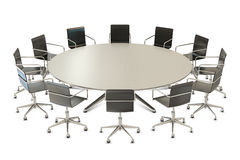 Round table with chairs Stock Photo