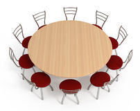 Round table with chairs, isolated on white. With clipping path, 3d illustration Royalty Free Stock Photos
