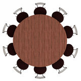 Round table and chairs, top view, isolated. On white, with clipping path, 3d illustration Royalty Free Stock Images
