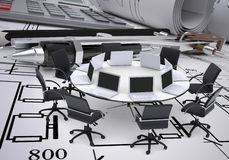 Round table, compasses, calculator and technical Stock Photos