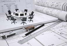 Round table, compasses, scrolls, architectural Royalty Free Stock Images