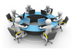 Round table  conference. 3d business people Working Together At Desk In Office. Round table  conference Stock Photography
