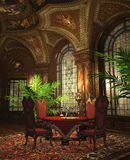 Round Table Dining Room. A luxurious dining-room in baroque style Royalty Free Stock Photo