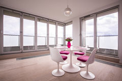 Round table in dining room Stock Image